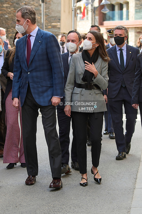 King Felipe VI of Spain, Queen Letizia of Spain visit Casa d'Areny-Plandolit during 2 day State visit to Principality of Andorra on March 26, 2021 in Ordino, Principality of Andorra