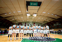 Team Slovenia listening to the National anthem during friendly basketball match between Women National Teams of Slovenia and Montenegro, on May 21, 2021 in Arena Tri Lilije, Lasko, Slovenia. Photo by Vid Ponikvar / Sportida