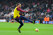 Andy Carroll (9) of West Ham United warming up before the Premier League match between Bournemouth and West Ham United at the Vitality Stadium, Bournemouth, England on 19 January 2019.