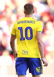 Close up of the Mind Charity branding on the back of Birmingham City's Lukas Jutkiewicz shirt