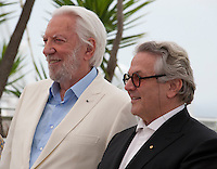 George Miller, Australian Director, Writer, Producer and President of the Jury and Actor Donald Sutherland at the Members of the Jury photo call at the 69th Cannes Film Festival Wednesday 11th May 2016, Cannes, France. Photography: Doreen Kennedy