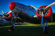 """A Lockheed Electra 12A, the """"Spirit of TWA"""" at the 2013 Hood River Fly In at WAAAM."""