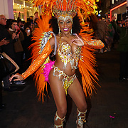 Hundreds packed on Carnaby Street for the Carnaby Christmas Carnival amazing Samba dancers and DJ Norman Jay and Christmas shopping grabbing up 20% discount on 9th November 2017, London, UK.