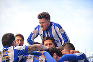 Sheffield Wednesday players celebrate after taking a 2-0 lead Sheffield Wednesday Forward Gary Hooper the goal scorer during the Sky Bet Championship match between Sheffield Wednesday and Leeds United at Hillsborough, Sheffield, England on 16 January 2016. Photo by Adam Rivers.