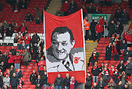 The Iconic Bob Paisley banner appears on the Kop with a poppy to commemorate Armistice Day - Barclays Premier League - Liverpool vs Chelsea - Anfield Stadium - Liverpool - England - 8th November 2014  - Picture Simon Bellis/Sportimage
