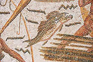 Detail of a fish from a Roman mosaic depicting fishermen from the north African Roman province of Africanus . Inv 2384, Bardo Museum, Tunis, Tunisia. .<br /> <br /> If you prefer to buy from our ALAMY PHOTO LIBRARY  Collection visit : https://www.alamy.com/portfolio/paul-williams-funkystock/roman-mosaic.html - Type -   Bardo    - into the LOWER SEARCH WITHIN GALLERY box. Refine search by adding background colour, place, museum etc<br /> <br /> Visit our ROMAN MOSAIC PHOTO COLLECTIONS for more photos to download  as wall art prints https://funkystock.photoshelter.com/gallery-collection/Roman-Mosaics-Art-Pictures-Images/C0000LcfNel7FpLI