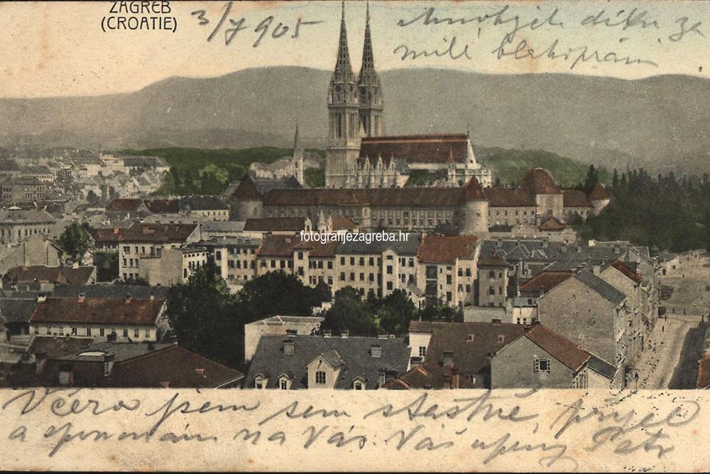 Zagreb (Croatie).  <br /> <br /> ImpresumZagreb : Naklada A. Brusine, [1905].<br /> Materijalni opis1 razglednica : tisak ; 8,8 x 13,8 cm.<br /> SuradnikMosinger, Rudolf(1865.–1918.)<br /> NakladnikTiskara A. Brusina<br /> Mjesto izdavanjaZagreb<br /> Vrstavizualna građa • razglednice<br /> ZbirkaGrafička zbirka NSK • Zbirka razglednica<br /> Formatimage/jpeg<br /> PredmetZagreb –– Kaptol<br /> Katedrala Uznesenja Marijina (Zagreb)<br /> SignaturaRZG-KAP-58<br /> Obuhvat(vremenski)20. stoljeće<br /> NapomenaRazglednica je putovala 1905. godine. • U lijevom donjem kutu poleđine razglednice otisnut je monogram Rudolfa Mosingera.<br /> PravaJavno dobro<br /> Identifikatori000955565<br /> NBN.HRNBN: urn:nbn:hr:238:448444 <br /> <br /> Izvor: Digitalne zbirke Nacionalne i sveučilišne knjižnice u Zagrebu