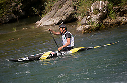 Anze Bercic of Slovenia reacts after competing in Final of Canoe Single Men C1  during Day 4 of 2017 ECA Canoe Slalom European Championships, on June 4, 2017 in Tacen, Ljubljana, Slovenia. Photo by Vid Ponikvar / Sportida