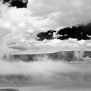 Steaming Geyser Pool Big Clouds - Cyanobacteria - Yellowstone National Park - Infrared Black & White
