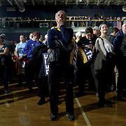 Supporters of Democratic presidential candidate Pete Buttigieg are seen during a primary night rally at the Nashua Community College in Nashua, N.H., on Tuesday, February 11, 2020.
