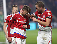 Gaston Ramirez of Middlesbrough gets emotional with team mate Ben Gibson after scoring his teams first goal of the game during the English Premier League match at Riverside Stadium, Middlesbrough. Picture date: December 5th, 2016. Pic Jamie Tyerman/Sportimage