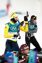 February 12, 2018 - Pyeongchang, SOUTH KOREA - 180212  Fredrik Lindström of Sweden prior the Men's Biathlon 12,5km Pursuit during day three of the 2018 Winter Olympics on February 12, 2018 in Pyeongchang..Photo: Jon Olav Nesvold / BILDBYRÃ…N / kod JE / 160157 (Credit Image: © Jon Olav Nesvold/Bildbyran via ZUMA Press)