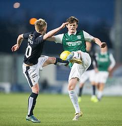 Falkirk's Craig Sibbald and Hibernian's Liam Henderson. <br /> Falkirk 1 v 1 Hibernian, Scottish Championship game played 17/1/2015 at The Falkirk Stadium.