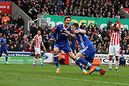 Gary Cahill of Chelsea celebrates with teammate Marcos Alonso after he scores his teams 2nd goal. Premier league match, Stoke City v Chelsea at the Bet365 Stadium in Stoke on Trent, Staffs on Saturday 18th March 2017.<br /> pic by Andrew Orchard, Andrew Orchard sports photography.