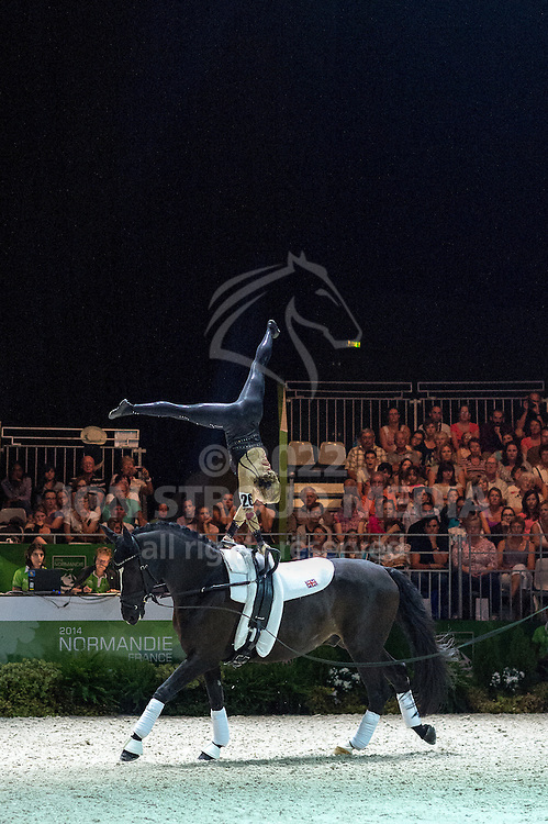 Lucy Phillips, (GBR), Pitucelli, Elizabeth Phillips - Individuals Women Freestyle Vaulting - Alltech FEI World Equestrian Games™ 2014 - Normandy, France.<br /> © Hippo Foto Team - Jon Stroud<br /> 03/09/2014