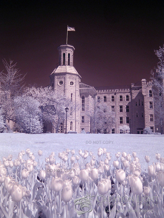 """Wheaton College in Wheaton, IL was founded in 1860.   Wheaton's """"Old Main."""" Blanchard was built in four sections beginning in 1853 and was completed in 1927. Named for Jonathan Blanchard, the College's founder and first president, and his son, Charles Blanchard, the second president, the building is the oldest and most recognized on campus..The building's castle-like architecture was patterned after buildings at Oxford University which Dr. Jonathan Blanchard admired. It is constructed of native Illinois limestone that was quarried in Batavia, Illinois...This is an infrared image which captures light that we cannot see and turns it into a visible image. Plants like flowers and grass reflect more infrared light and appear brighter in infrared images while the sky reflects less making it darker."""