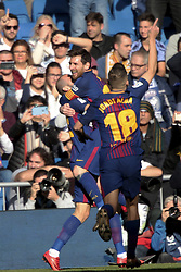 MADRID, Dec. 23, 2017  Barcelona's Lionel Messi (C) celebrates their victory with his teammates after the Spanish La Liga soccer match between Real Madrid and Barcelona at the Santiago Bernabeu stadium in Madrid, Spain, on Dec. 23, 2017. Barcelona beat Real Madrid by 3-0. (Credit Image: © Juan Carlos Rojas/Xinhua via ZUMA Wire)