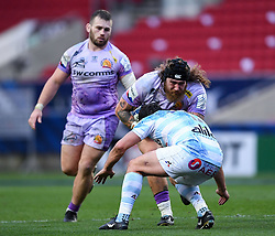 Harry Williams of Exeter Chiefs is challenged by Henry Chavancy of Racing 92 - Mandatory by-line: Ryan Hiscott/JMP - 17/10/2020 - RUGBY - Ashton Gate Stadium - Bristol, England - Exeter Chiefs v Racing 92 - Heineken Champions Cup Final