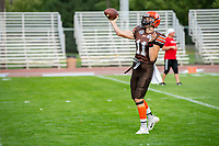 KELOWNA, BC - AUGUST 17:  Adam Burton #11 of Okanagan Sun throws the ball during warm up against the Westshore Rebels  at the Apple Bowl on August 17, 2019 in Kelowna, Canada. (Photo by Marissa Baecker/Shoot the Breeze)
