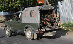 October 3, 2016 - Srinagar, Jammu and Kashmir, India - Convoy of Indian troopers moving towards the base camp which was attacked by suspected militants at Baramulla on Oct 03 Indian controlled Kashmir. Suspected militants attacked an Indian army camp in the Indian portion of Kashmir ensuing a gunfight on late eveningon Sunday, which ended in the wee hours of Monday morning, police said. (Credit Image: © Umer Asif/Pacific Press via ZUMA Wire)