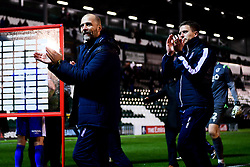 Bristol Rovers Caretaker manager Joe Dunne with Kevin Maher and Lee Mansell after the final whistle of the match - Mandatory by-line: Ryan Hiscott/JMP - 17/12/2019 - FOOTBALL - Home Park - Plymouth, England - Plymouth Argyle v Bristol Rovers - Emirates FA Cup second round replay