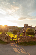 View of St Barnabas Church at sunrise, Snowshill, England, UK