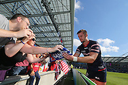 USA Cam Dolan signing autographs after the Rugby World Cup 2015 match between Samoa and USA at the Brighton Community Stadium, Falmer, United Kingdom on 20 September 2015.