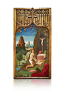 Gothic Catalan Alterpiece of Sant Jeroni Penetant by Mestre de la Seu d'Urgell, circa 1495, tempera and gold leaf on wood, from the church of Santa Maria de Puigcerda, Baixa Cerdanya, Spain.  National Museum of Catalan Art, Barcelona, Spain, inv no: MNAC  15821. Against a white background. . .<br /> <br /> If you prefer you can also buy from our ALAMY PHOTO LIBRARY  Collection visit : https://www.alamy.com/portfolio/paul-williams-funkystock/gothic-art-antiquities.html  Type -     MANAC    - into the LOWER SEARCH WITHIN GALLERY box. Refine search by adding background colour, place, museum etc<br /> <br /> Visit our MEDIEVAL GOTHIC ART PHOTO COLLECTIONS for more   photos  to download or buy as prints https://funkystock.photoshelter.com/gallery-collection/Medieval-Gothic-Art-Antiquities-Historic-Sites-Pictures-Images-of/C0000gZ8POl_DCqE