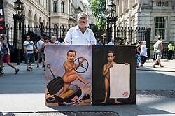 Artist outside Downing Street, anti austerity demo London 21 June 2014