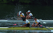 Lucerne, SWITZERLAND,  Men's Pair final. Gold. AUS1. Bow. Matthew LONG and James TOMKINS. Foreground AUS2. M2- Bow. David WEIGHTMAN and Robert SCOTT. 2000 FISA World Cup, Rotsee Rowing Course, June 2000.  [Mandatory Credit, Peter Spurrier/Intersport-images]. 2000 FISA World Cup, Lucerne, SWITZERLAND