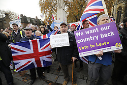 © Licensed to London News Pictures. 23/11/2016. London, UK. Demonstration outside The Houses of Parliament in London to oppose the High Court's ruling earlier this month that the Article 50 process must be triggered by an act of Parliament. Photo credit: Tolga Akmen/LNP