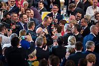 07 DEC 2018, HAMBURG/GERMANY:<br /> Friedrich Merz (Mi-L), CDU, Rechtsanwalt und ehem. Kandidat fuer das Amt des Parteivorsitzenden, gratuliert Annegret Kramp-Karrenbauer (Mi-R), CDU Generalsekretaerin und soeben gewaehlte neue Parteivorsitzende, nach Ihrer Wahl zur Parteivorsitzenden der CDU, weiter links: Jens Spahn, CDU, Bundesgesundheitsminister und ehem. Kandidat fuer das Amt des Parteivorsitzenden, CDU Bundesparteitag, Messe Hamburg<br /> IMAGE: 20181207-01-167<br /> KEYWORDS: party congress, Jubel, Applaus, klatschen, Gratulation