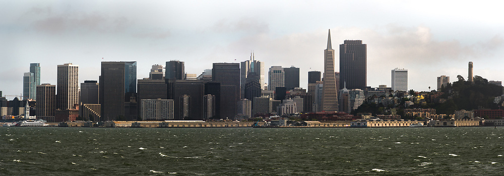 Downtown San Francisco is seen aboard a ferry to Sausalito in Marin County.