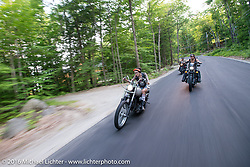 Iron Lilies Kissa Von Addams (L) and Lilly James (R) out riding during Laconia Motorcycle Week 2016. NH, USA. Sunday, June 19, 2016.  Photography ©2016 Michael Lichter.