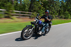 """Isaac Sanchez with the coast-to-coast """"Stampeders"""" on a local ride Saturday morning during the Smokeout. Rockingham, NC. USA. June 20, 2015.  Photography ©2015 Michael Lichter."""