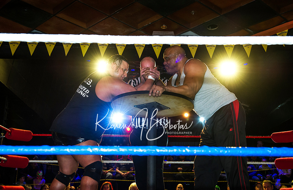 """Jimmy Jact Cash and """"Mr USA"""" Tony Atlas set to arm wrestle during the Whiskey Barrel's Pro Wrestling Injustice for Brawl event Saturday night to benefit PJ Kearney and the Boston Children's Hospital.  (Karen Bobotas/for the Laconia Daily Sun)"""