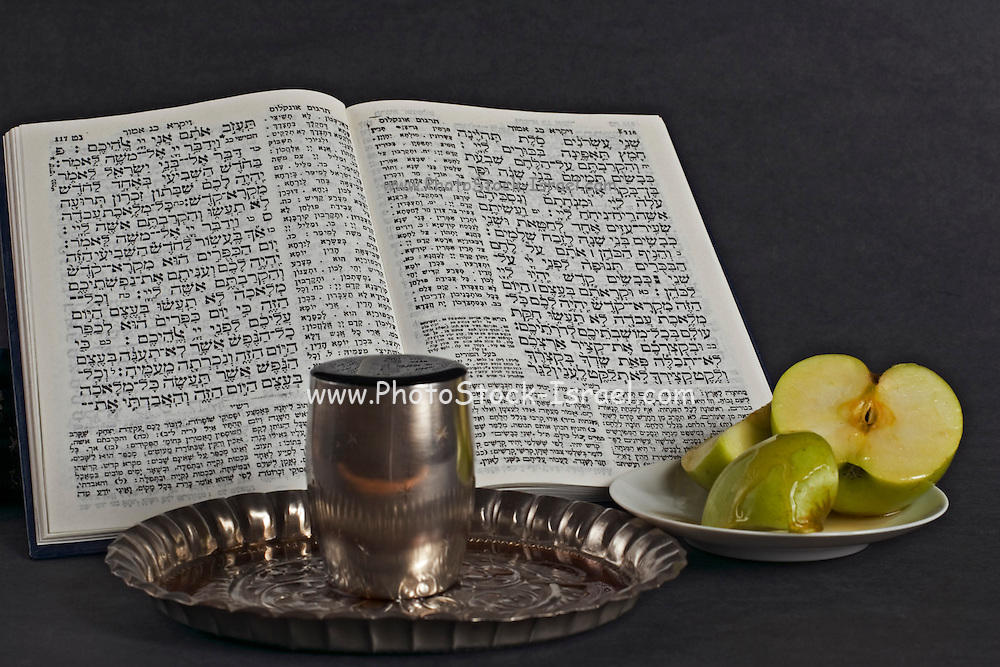 still life of a Prayer book, Apple, Honey and a wine goblet