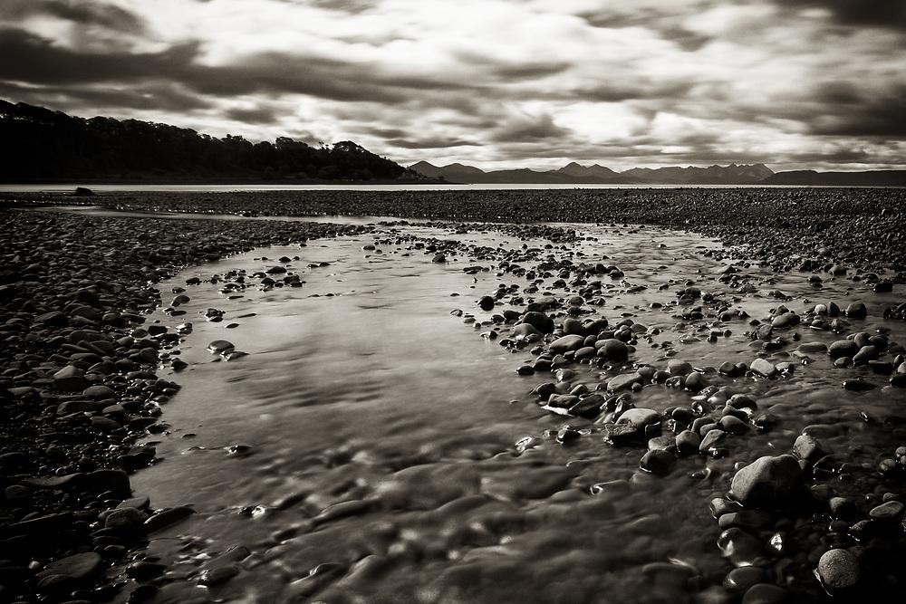 A 30-second long exposure of River Applecross, flowing into Applecross Bay, Scotland