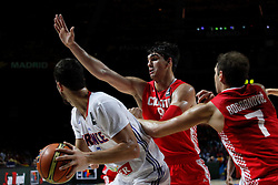 06.09.2014, Palacio de Deportes, Madrid, ESP, FIBA WM, Frankreich vs Kroatien, im Bild France´s Lauvergne (L) and Croatia´s Saric and Bogdanovic // during FIBA Basketball World Cup Spain 2014 match between France and Croatia at the Palacio de Deportes in Madrid, Spain on 2014/09/06. EXPA Pictures © 2014, PhotoCredit: EXPA/ Alterphotos/ Victor Blanco<br /> <br /> *****ATTENTION - OUT of ESP, SUI*****