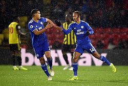 Cardiff City's Bobby Reid celebrates scoring his side's second goal of the game during the Premier League match at Vicarage Road, Watford.