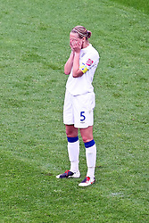 09.07.2011, FIFA Frauen-WM-Stadion Leverkusen, Leverkusen, GER, FIFA Women Worldcup 2011, Viertelfinale, England (ENG) vs. Frankreicht (FRA), im Bild:  Faye White (England) entaeuscht / entäuscht / traurig.. // during the FIFA Women´s Worldcup 2011, Quaterfinal, England vs France on 2011/07/09, FIFA Frauen-WM-Stadion Leverkusen, Leverkusen, Germany.   EXPA Pictures © 2011, PhotoCredit: EXPA/ nph/  Mueller *** Local Caption ***       ****** out of GER / CRO  / BEL ******