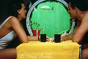 guests at Jules' Undersea Lodge, an underwater hotel, Key Largo, Florida ( Western Atlantic )