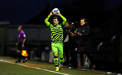 Nicky Cadden of Forest Green Rovers takes a throw in- Mandatory by-line: Nizaam Jones/JMP - 16/01/2021 - FOOTBALL - innocent New Lawn Stadium - Nailsworth, England - Forest Green Rovers v Port Vale - Sky Bet League Two