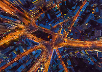 Aerial view above of Taganka Square in Moscow during the night, Russia