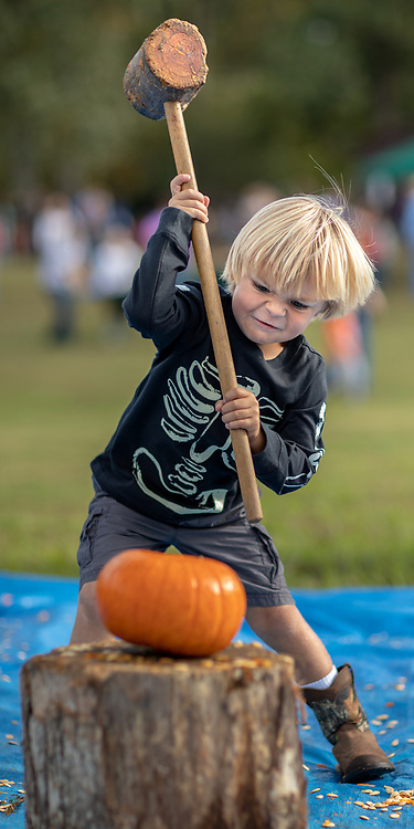 Myles Bouldin, 4, of Trinity, NC<br /> <br /> Quaker Lake Camp in Climax, N.C., held the tenth annual Pumpkin Festival on Saturday, October 20. Over 1,800 people attended this year's festival. It takes more than 200 volunteers to provide inflatables, carnival games, face painting, hayrides, pumpkin smashing, and food options, including funnel cakes and fried Oreos.<br /> <br /> This outreach event allows the community to visit the camp property and see its facilities. Profits from the event support Quaker Lake Camp programming. Th Camp's main program is a Christian-based residential summer camp.<br /> <br /> <br /> Quaker Lake Pumpkin Festival 2018. Photos may not be printed or published without permission.<br /> <br /> Quaker Lake Camp, Climax, NC<br /> <br /> Documented Saturday October 20, 2018.<br /> <br /> Copyright 2018 <br /> <br /> JERRY WOLFORD  / Perfecta Visuals