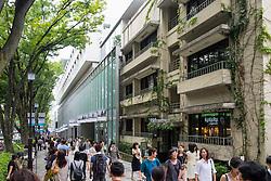 Busy shopping street in elegant Omotesando district of Tokyo Japan