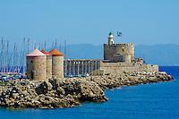 Grece, Dodecanese, Rhodes, ville de Rhodes, Unesco world heritage, les moulins et Agios Nikolaos // Greece, Dodecanese, Rhodes island, Rhodes city, Unesco word heritage, windmill and Agios Nikolaos