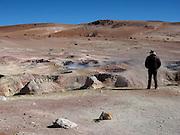 Fumaroles and bubbling mud pool at the Sol de Mañana Geysers, at 5,300 metres above sea-level on the Bolivian Altiplano