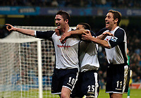 Photo: Jed Wee.<br /> Manchester City v Tottenham Hotspur. The Barclays Premiership. 04/01/2006.<br /> <br /> Tottenham's Robbie Keane (L) celebrates his goal.