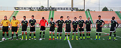 20 June 2015. New Orleans, Louisiana.<br /> National Premier Soccer League. NPSL. <br /> Jesters 1 - Knoxville 1.<br /> Knoxville Force prepare to play the New Orleans Jesters at the Pan American Stadium. Jesters drew 1-1 with Knoxville.<br /> Photo; Charlie Varley/varleypix.com
